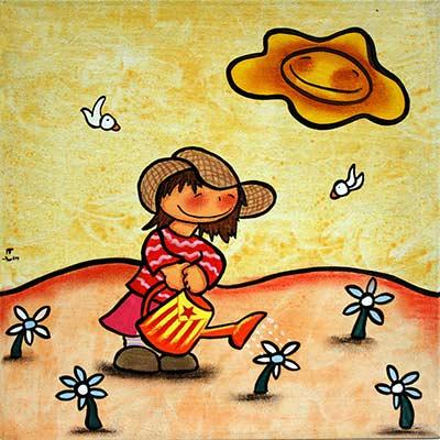 Quadre amb nena regant les flors