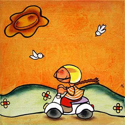 Pintura de nena amb moto 'Vespa'