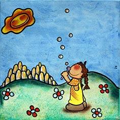 Quadre amb nena fent bombolles
