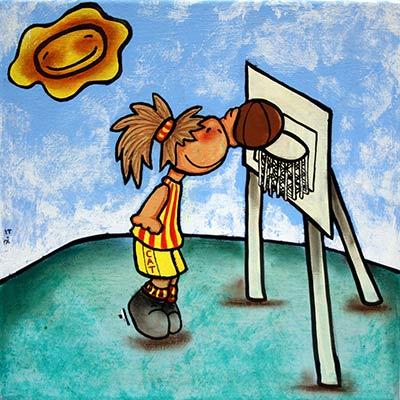 Quadre amb nena jugant a basquet
