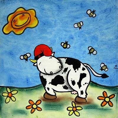 Quadre de vaca amb barretina catalana