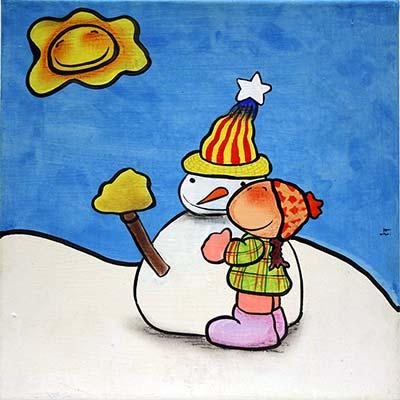 Quadre amb nena abraçant ninot de neu