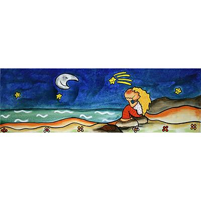 Quadre amb nena mirant la lluna i estelada