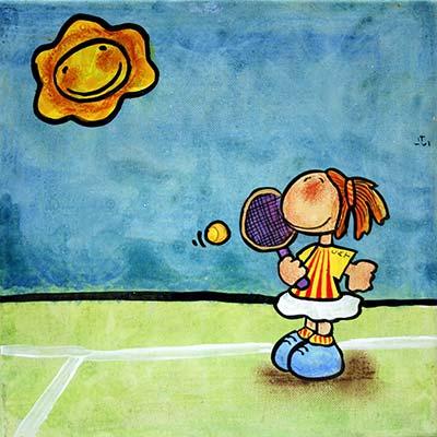 Quadre amb nena jugant a tenis
