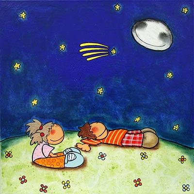 Quadre amb nens mirant la lluna amb estelada