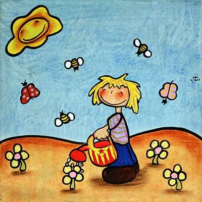 Quadre amb nen regant el jardí