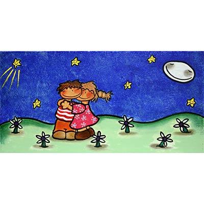 Quadre amb nen i nena en nit estelada