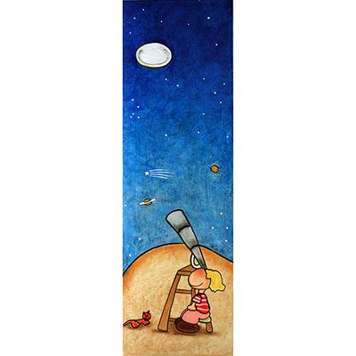 Quadre amb nen mirant estelada amb telescopi