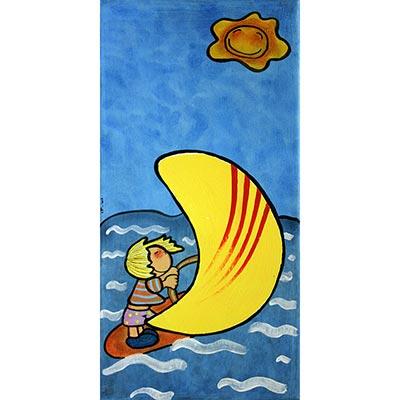 Quadre amb nena surfejant