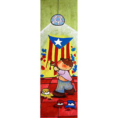 Quadre amb nen pintant estelada a la paret