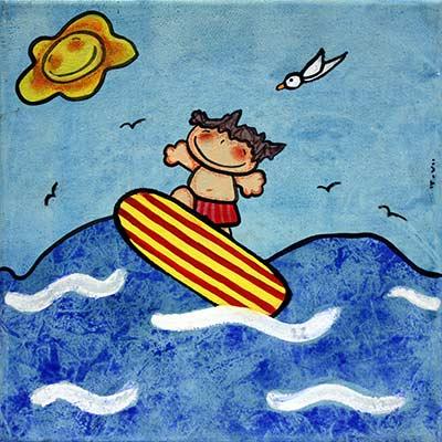Quadre amb nen surfejant
