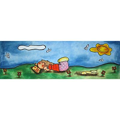 Quadre amb nena pintant estelada al camp