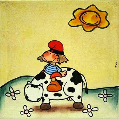 Quadre amb nena sobre vaca