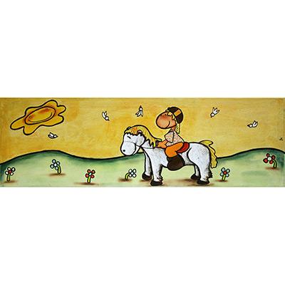 Quadre amb nena i cavall amb senyera