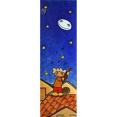 Quadre amb nen tocant el violí en nit estelada