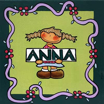 Quadre amb nena i nom 'Anna'
