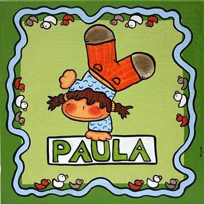 Quadre amb nena i nom 'Paula'