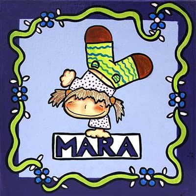 Quadre amb nena i nom 'Mara'
