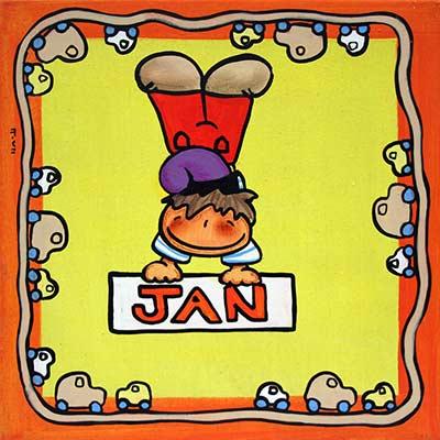 Quadre amb nen i nom 'Jan'