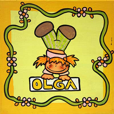 Quadre amb nena i nom 'Olga'