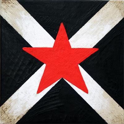 Bandera negre amb estel roig