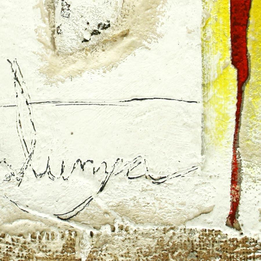 Detall del quadre 4 barres, creu St. Jordi i 'Catalunya' escrit