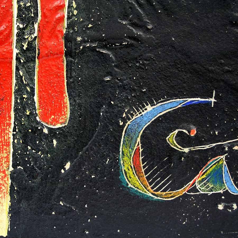 Detall del quadre amb 4 barres, 'Catalunya' i St. Jordi