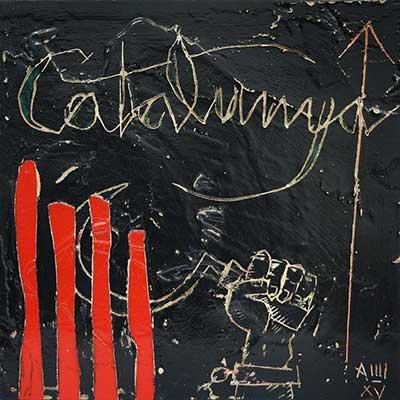 Senyera, 'Catalunya' i mà empunyant falç