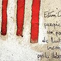 Detall de la pintura amb 4 barres i poema