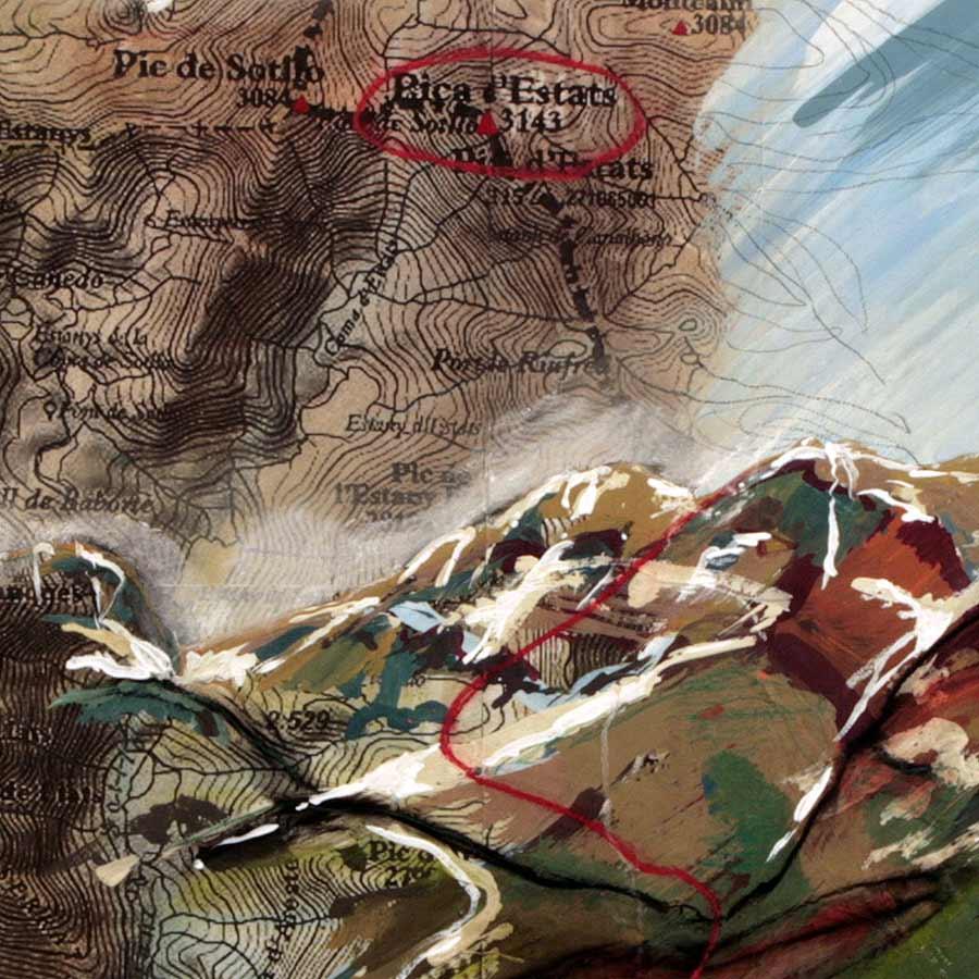 Detall de la pintura amb la Pica d'Estats