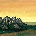 Detall del quadre amb muntanyes de Montserrat