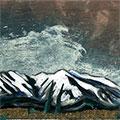Detall del quadre amb la muntanya del Canigó