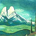 Detall del quadre amb muntanya del Pedraforca