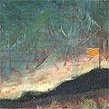 Detall del quadre amb senyera onejant a l'horitzó