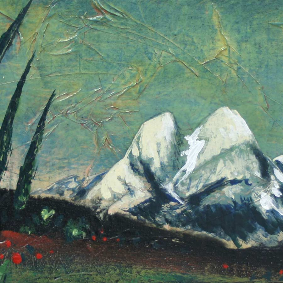 Detall del quadre amb la muntanya del Pedraforca