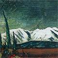 Detall del quadre amb muntanya del Canigó