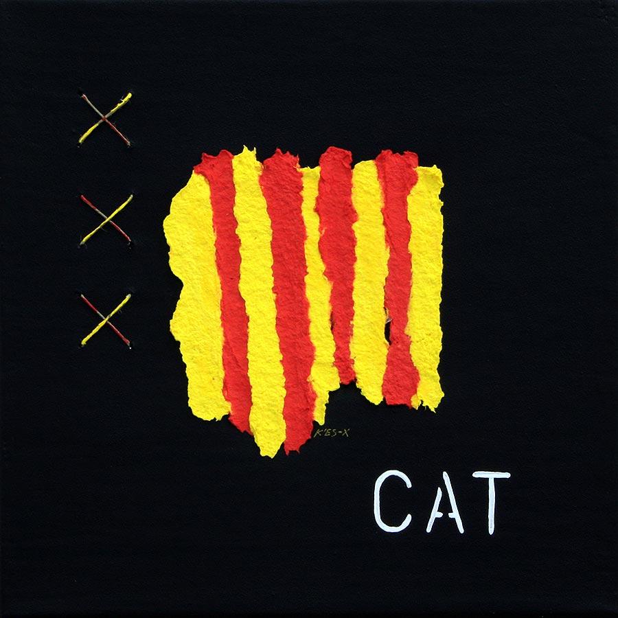 Llenç amb senyera i 'CAT'