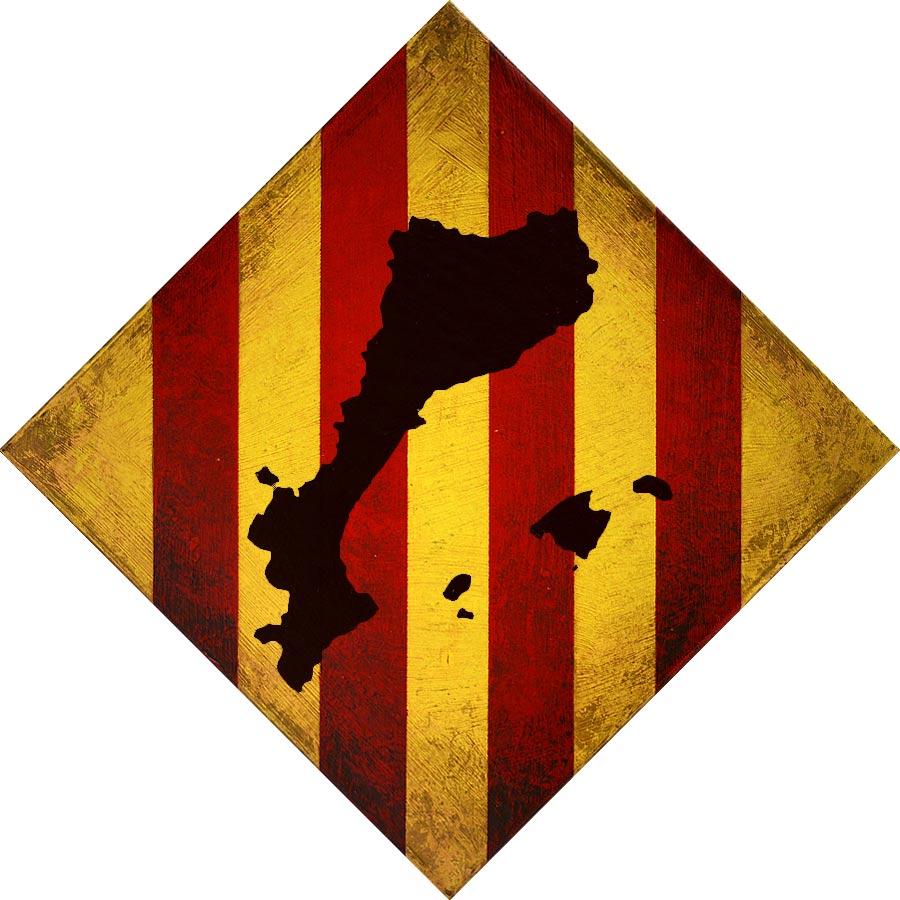 Rombe amb la senyera i els Països Catalans