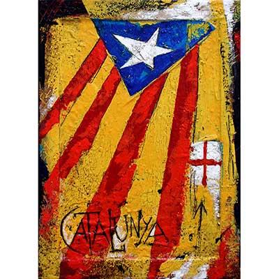 Estelada blava i creu de St. Jordi