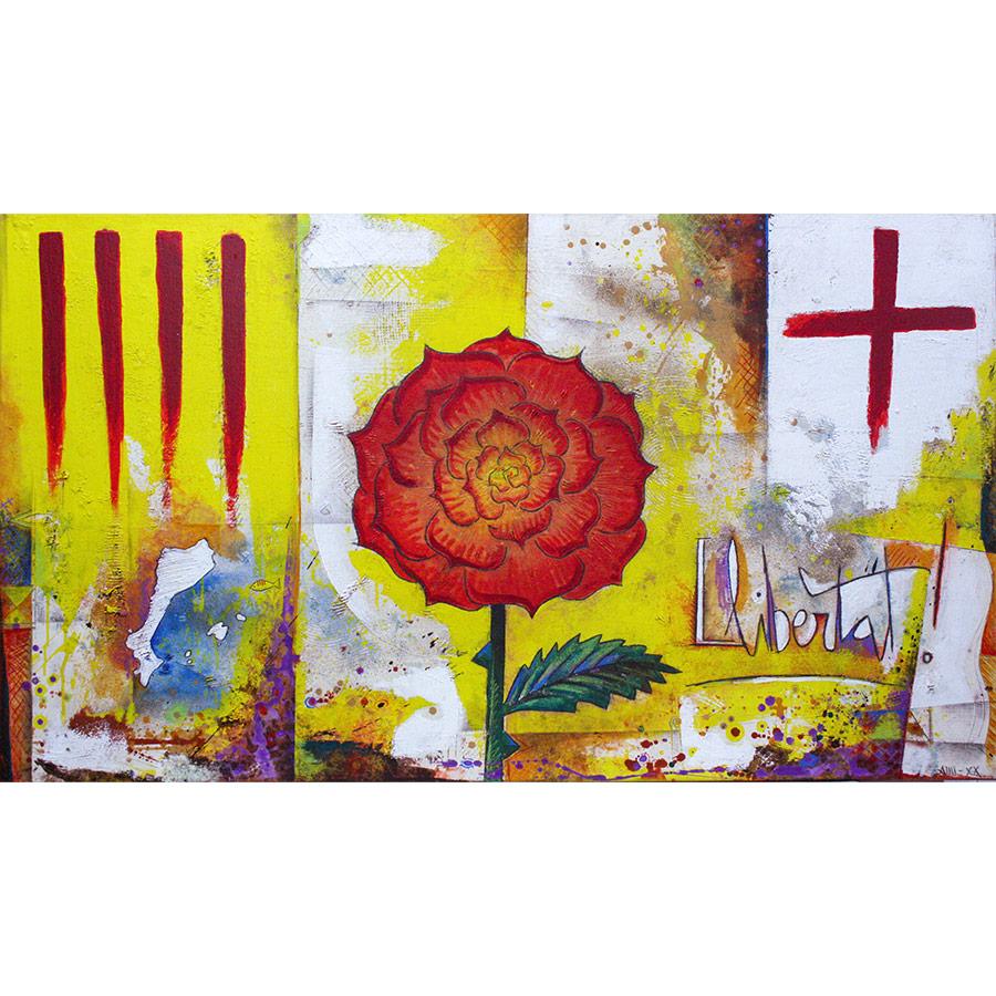 Quadre de 90x160cm pintat amb rosa i simbols