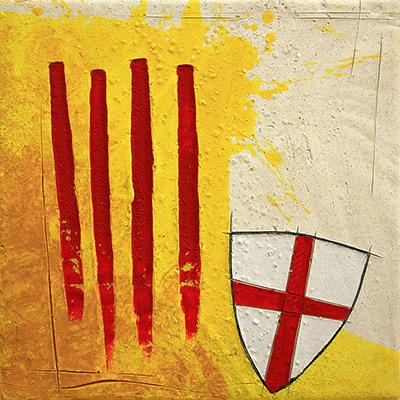 Senyera i escut de St. Jordi