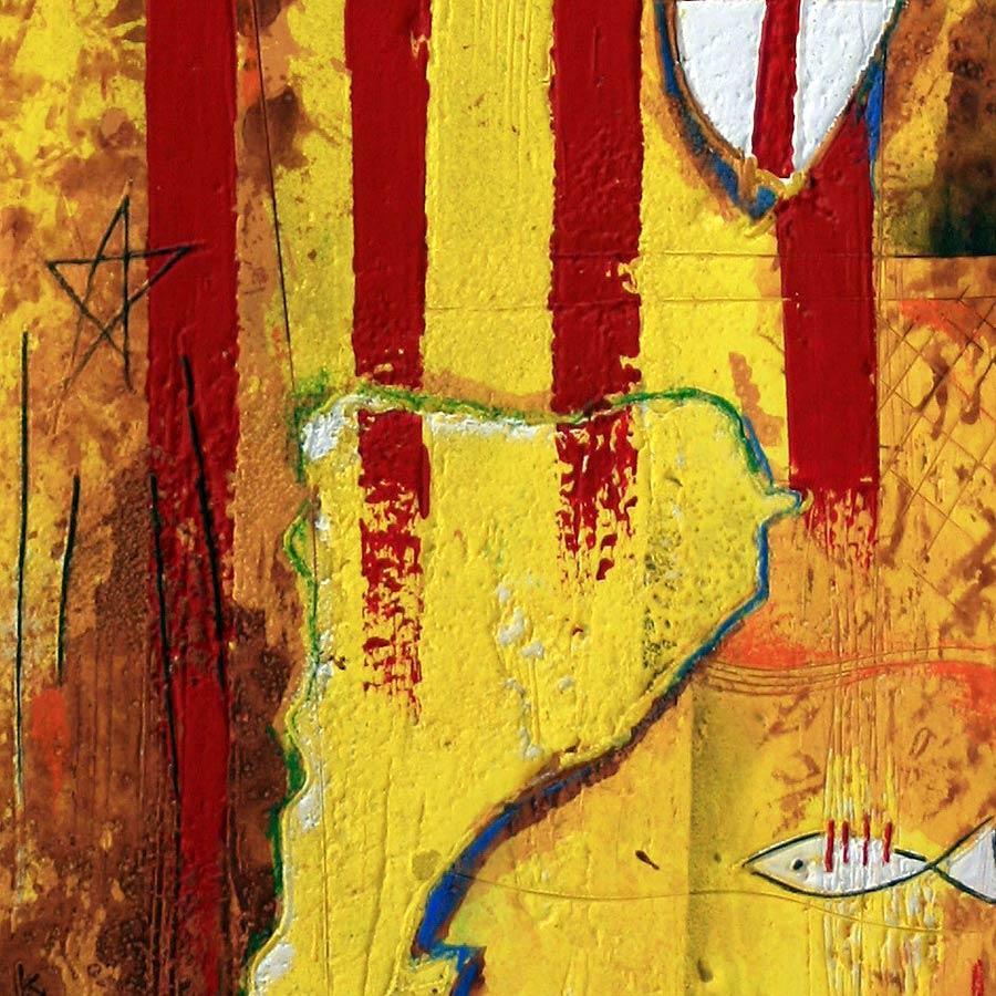 Detall del quadre amb senyera més escut de Sant Jordi i Països Catalans