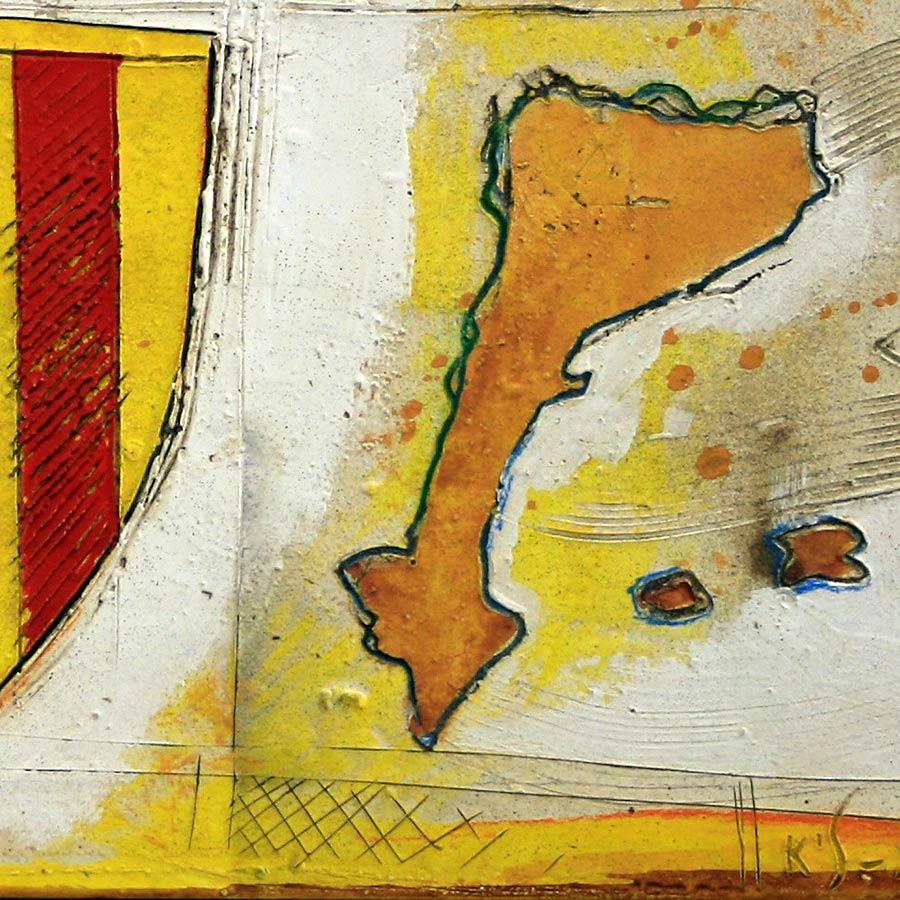Detall del quadre amb escut de Catalunya més estelada i Països Catalans