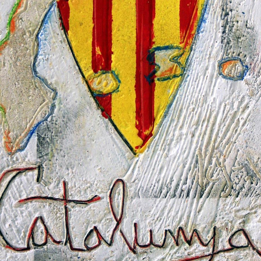 Detall del quadre amb escut de Catalunya més Països Catalans i text Catalunya