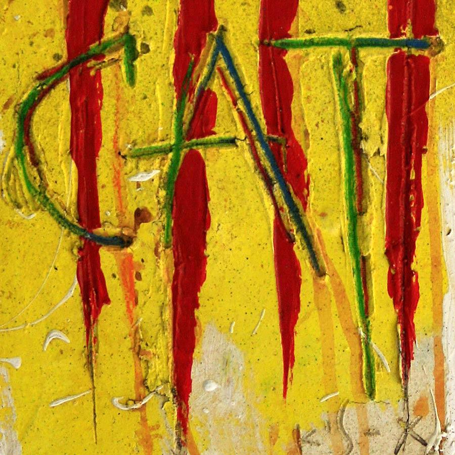 Detall del quadre amb senyera i lletres CAT