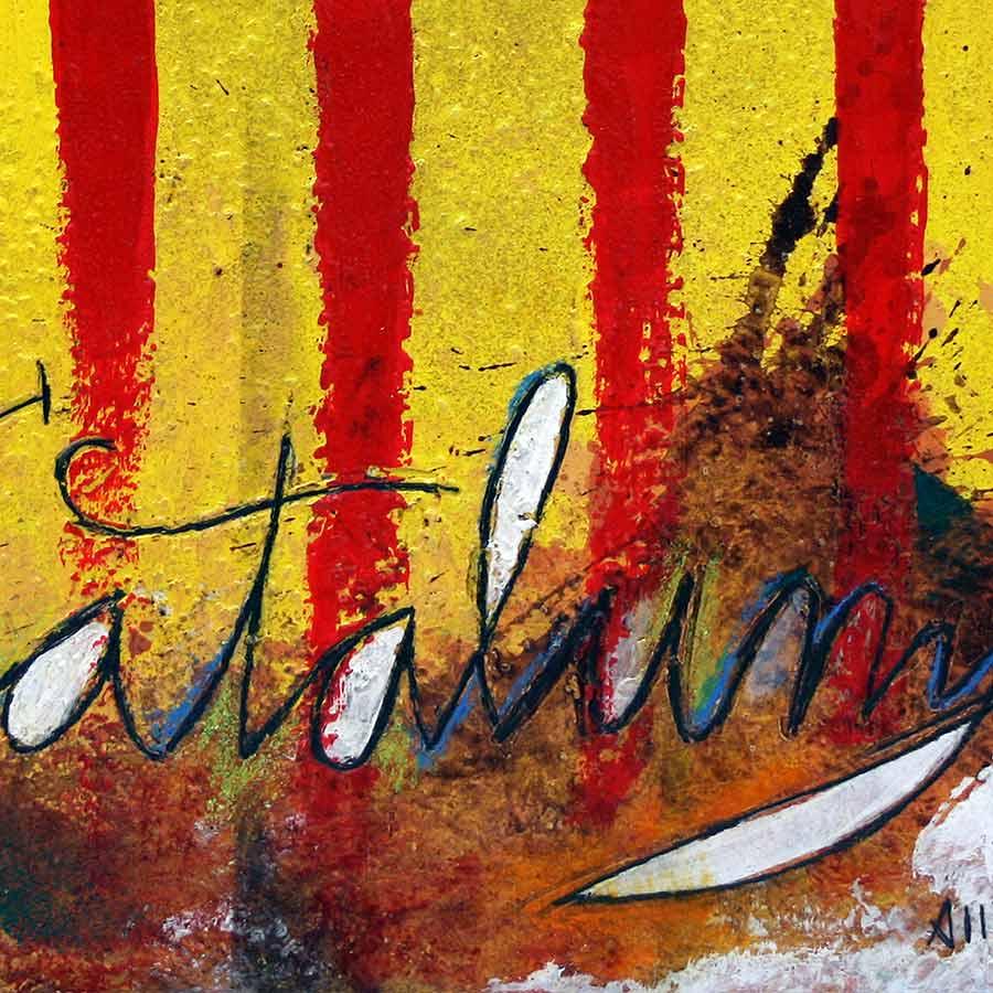 Detall del quadre amb senyera i text Catalunya