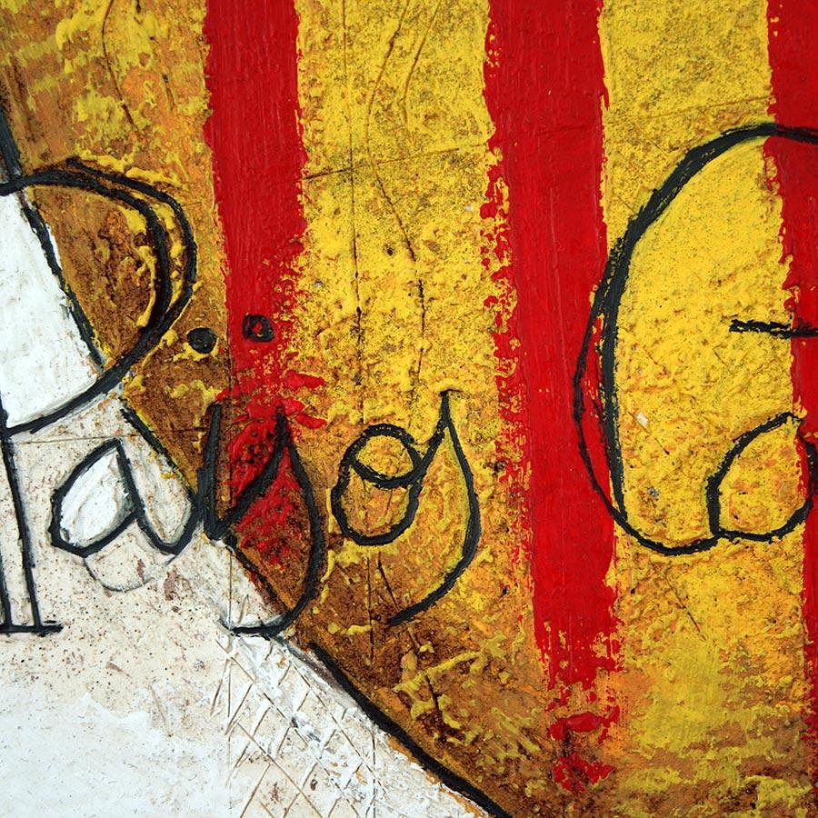 Detall del quadre amb escut de Catalunya i text Països Catalans