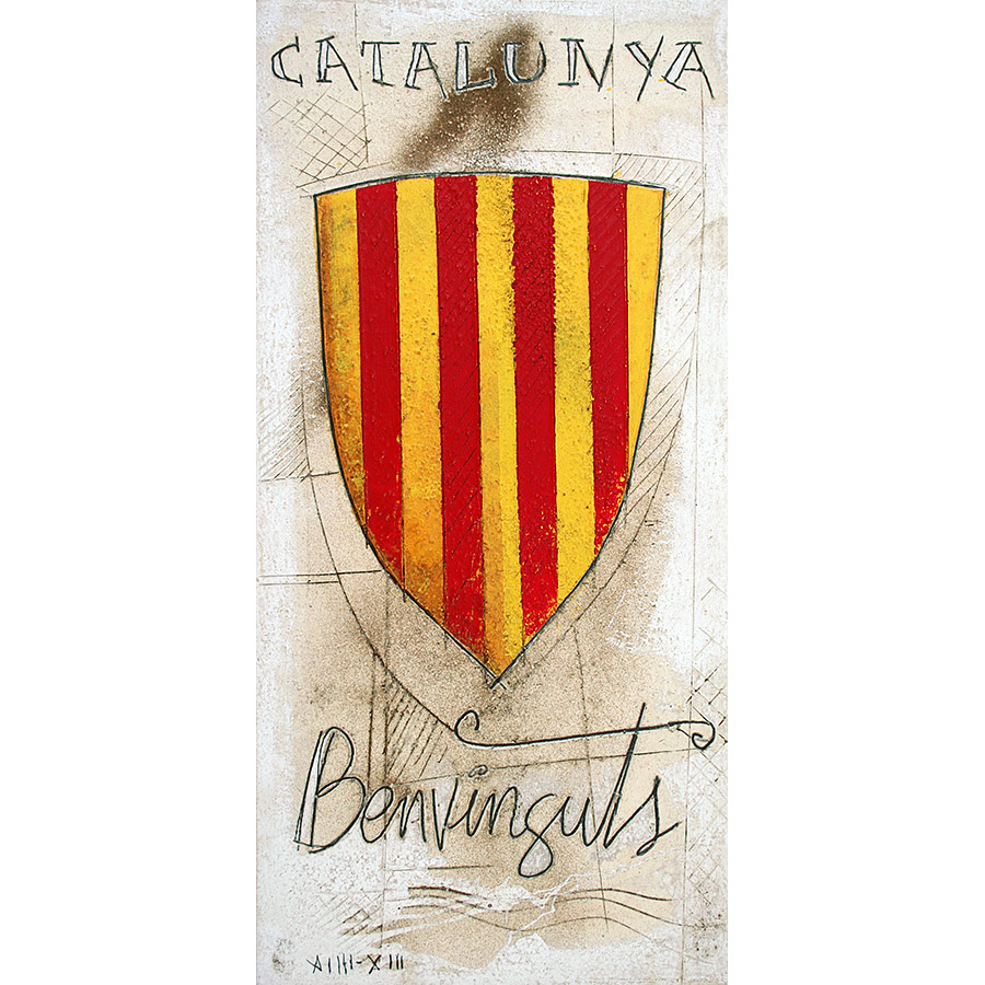 Escut de Catalunya amb Benvinguts