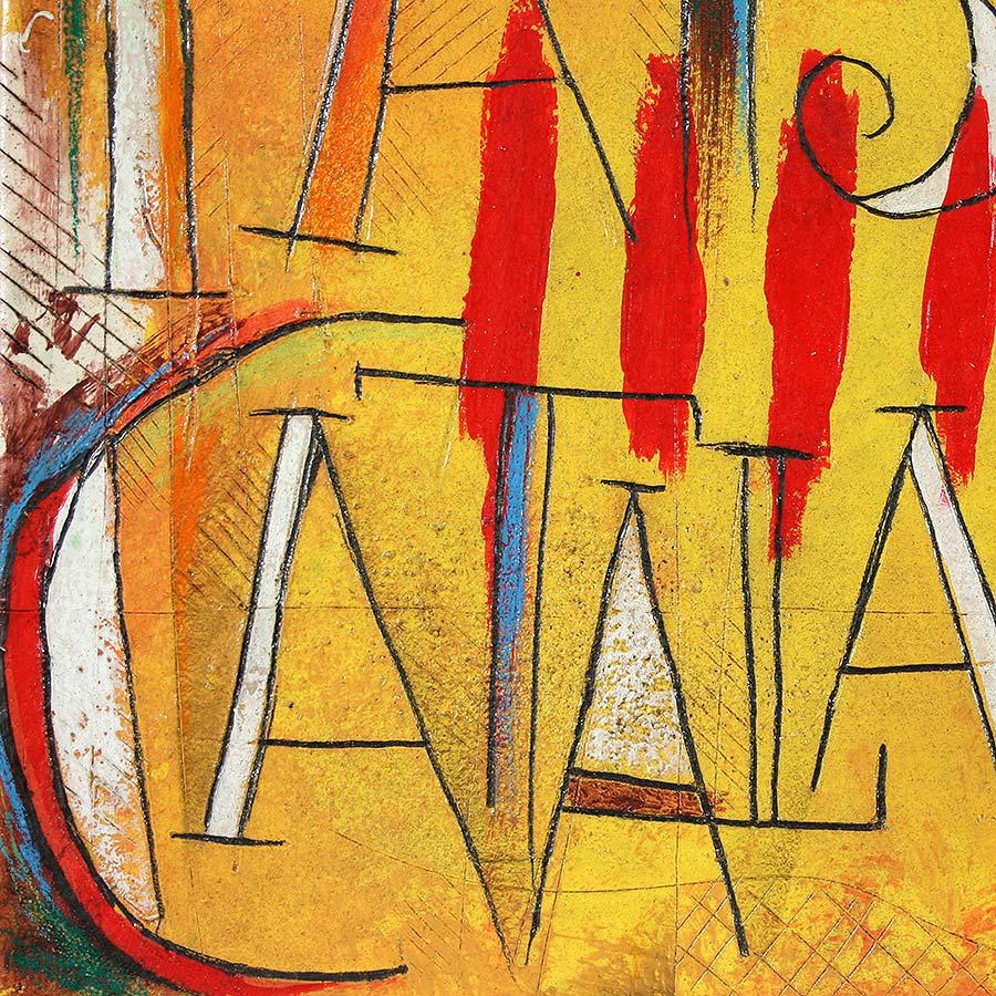 Detall del quadre amb senyera i text 'Països Catalans'