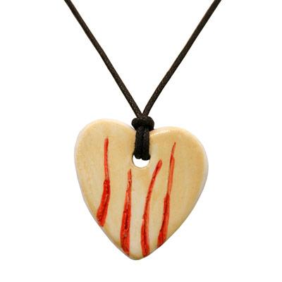 Collaret de porcellana amb cor i 4 barres
